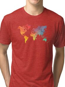 Map of the world colored Tri-blend T-Shirt