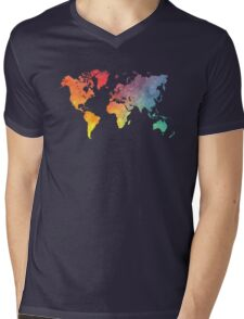 Map of the world colored Mens V-Neck T-Shirt