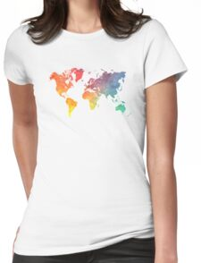 Map of the world colored Womens Fitted T-Shirt