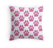 Pink Dalmatian Puppy Paw Paws Throw Pillow