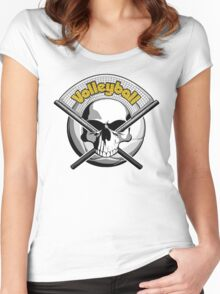 Volleyball Skull 2 Women's Fitted Scoop T-Shirt
