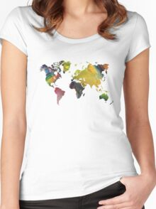 New world map Women's Fitted Scoop T-Shirt
