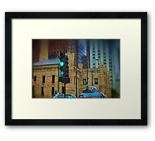 Driving By Water Tower in Chicago Framed Print