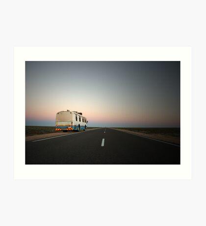 Lonely desert highway... Art Print