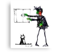 Brian the zombie remembers to feed the cat Canvas Print