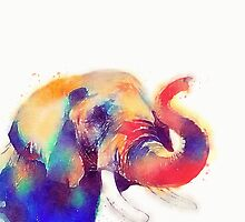 The Majestic - Watercolor Elephant by Jacqueline Maldonado
