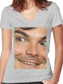 Blessed Jack Black Eyebrow Women's Fitted V-Neck T-Shirt