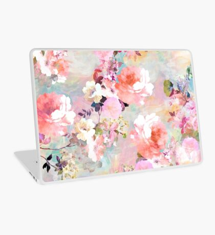 Romantic Pink Teal Watercolor Chic Floral Pattern Laptop Skin