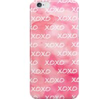 Cute xoxo pattern girly trendy pink watercolor  iPhone Case/Skin