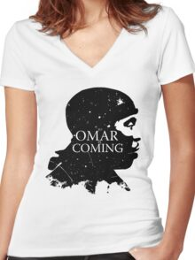 omar comin yo! Women's Fitted V-Neck T-Shirt