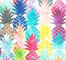 Hawaiian Pineapple Pattern Tropical Watercolor by GirlyTrend
