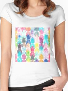 Hawaiian Pineapple Pattern Tropical Watercolor Women's Fitted Scoop T-Shirt