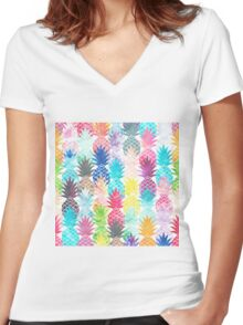 Hawaiian Pineapple Pattern Tropical Watercolor Women's Fitted V-Neck T-Shirt