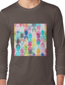 Hawaiian Pineapple Pattern Tropical Watercolor Long Sleeve T-Shirt