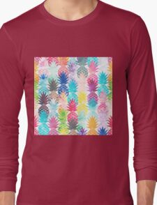 Hawaiian Pineapple Pattern Tropical Watercolor Long Sleeve T-Shirt