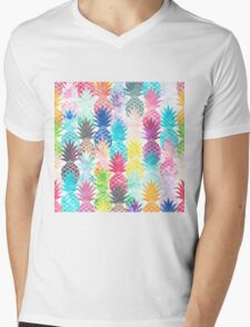 Hawaiian Pineapple Pattern Tropical Watercolor Mens V-Neck T-Shirt
