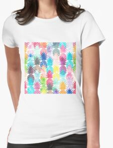 Hawaiian Pineapple Pattern Tropical Watercolor Womens Fitted T-Shirt
