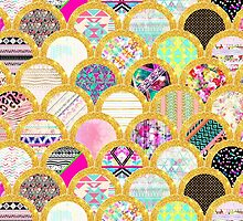 Modern Scallop Pattern Trendy Girly Gold Glitter by GirlyTrend