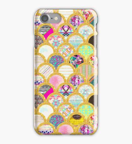 Modern Scallop Pattern Trendy Girly Gold Glitter iPhone Case/Skin