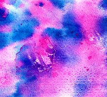 Modern bright navy blue pink abstract watercolor by GirlyTrend