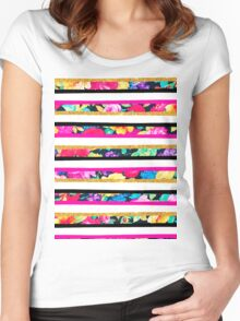 Neon floral pattern pink gold glitter stripes Women's Fitted Scoop T-Shirt