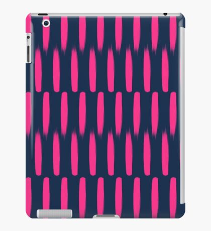 Modern abstract neon pink navy blue brushstrokes iPad Case/Skin