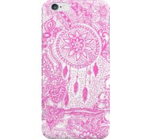 Hipster pink dreamcatcher floral doodles pattern iPhone Case/Skin
