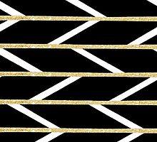 Modern faux gold glitter black chevron pattern by GirlyTrend