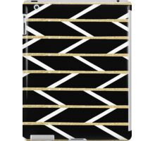 Modern faux gold glitter black chevron pattern iPad Case/Skin