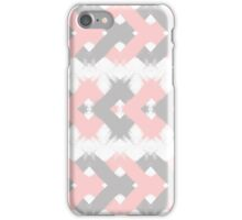 Geometric modern pink coral gray brushstrokes iPhone Case/Skin