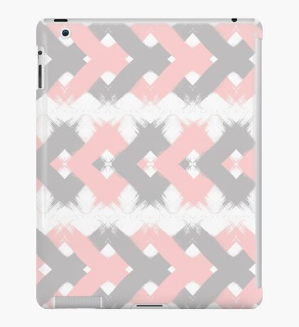 Geometric modern pink coral gray brushstrokes iPad Case/Skin
