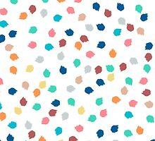 Spring modern polka dots brushstrokes pattern by GirlyTrend