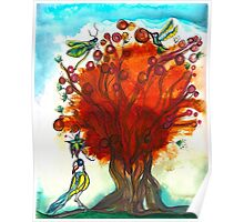Red Tree with Birds Poster