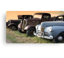 Antique Cars Along the Road in Rural America Canvas Print