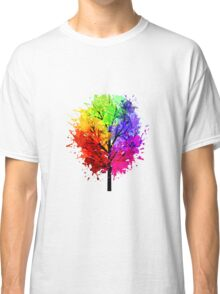 Rainbow Tree With Colour Splats Classic T-Shirt