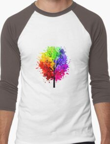 Rainbow Tree With Colour Splats Men's Baseball ¾ T-Shirt