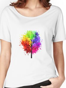 Rainbow Tree With Colour Splats Women's Relaxed Fit T-Shirt