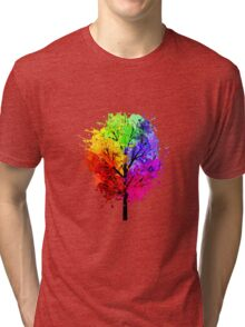 Rainbow Tree With Colour Splats Tri-blend T-Shirt