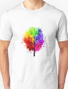 Rainbow Tree With Colour Splats Unisex T-Shirt
