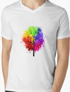 Rainbow Tree With Colour Splats Mens V-Neck T-Shirt