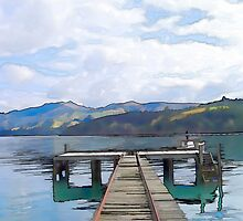 Akaroa Jetty, Canterbury, New Zealand by Shamus Macca