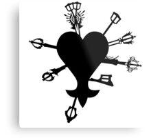 Keyblade Stabbed Heart Metal Print