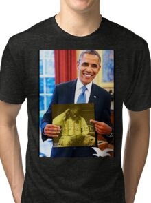 Obama/Gucci Mane- Traphouse 3 Tri-blend T-Shirt