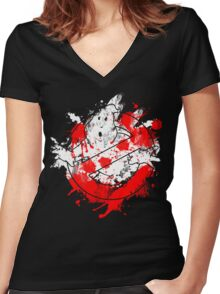 Ghostbusters Logo Paint Splatter Women's Fitted V-Neck T-Shirt