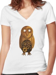 wooden owl clock Women's Fitted V-Neck T-Shirt