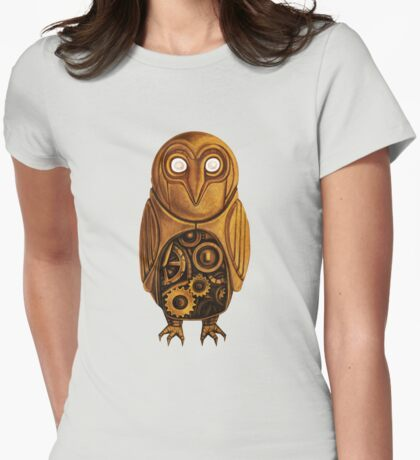 wooden owl clock Womens Fitted T-Shirt
