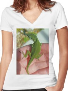 Green Anole Women's Fitted V-Neck T-Shirt