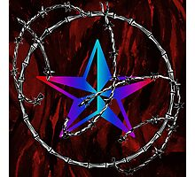 Barbed Wire Nautical Star Photographic Print