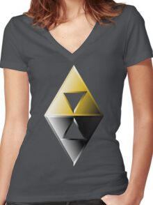 A Link Between Worlds Triforce Logo Women's Fitted V-Neck T-Shirt