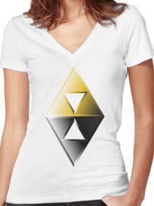 A Link Between Worlds Triforce Logo Women's Fitted V-Neck T-Shirt